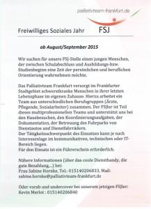 Stellenausschreibung FSJ 2015